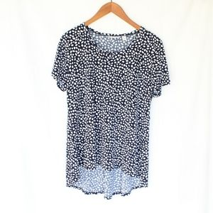 Susan Graver | Navy Patterned Short Sleeve